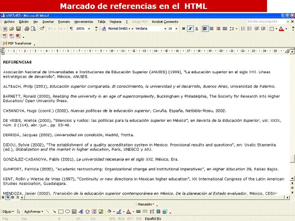 Marcado de referencias en el HTML