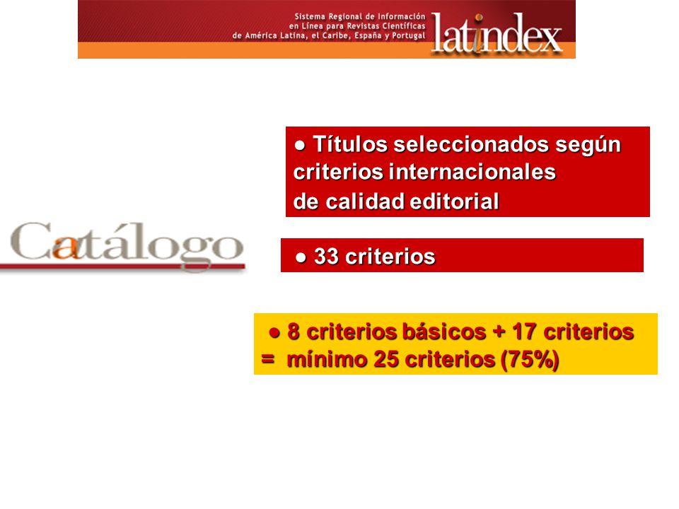Títulos seleccionados según criterios internacionales Títulos seleccionados según criterios internacionales de calidad editorial 33 criterios 33 criterios 8 criterios básicos + 17 criterios = mínimo 25 criterios (75%) 8 criterios básicos + 17 criterios = mínimo 25 criterios (75%)