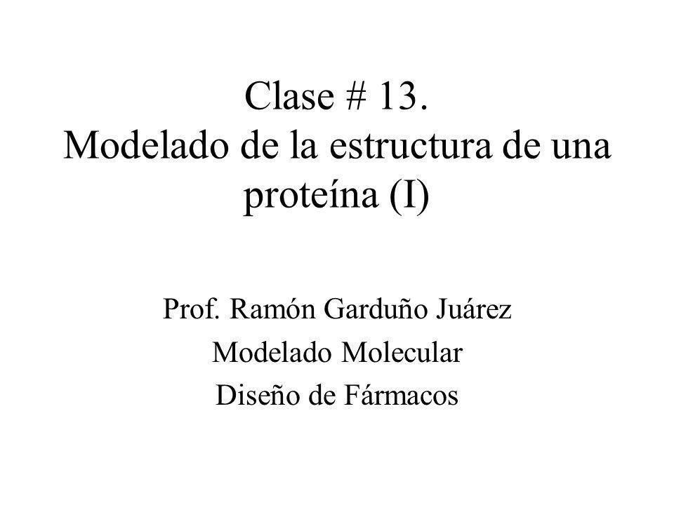 Clase # 13. Modelado de la estructura de una proteína (I) Prof. Ramón Garduño Juárez Modelado Molecular Diseño de Fármacos