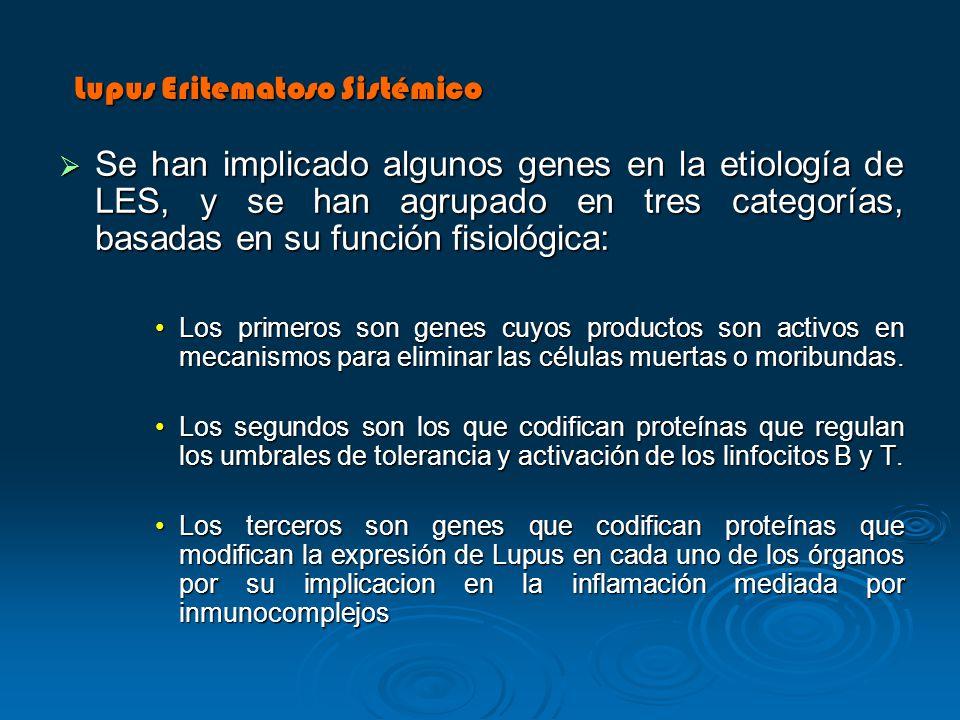 Se han implicado algunos genes en la etiología de LES, y se han agrupado en tres categorías, basadas en su función fisiológica: Se han implicado algun