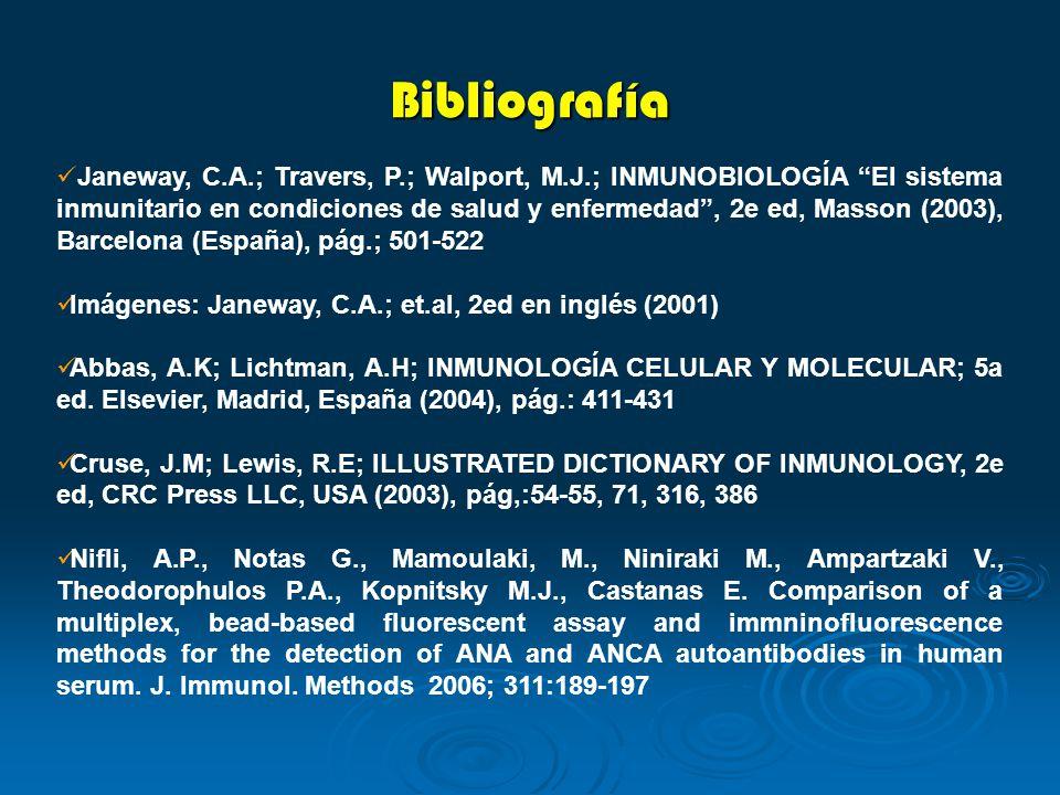Bibliografía Janeway, C.A.; Travers, P.; Walport, M.J.; INMUNOBIOLOGÍA El sistema inmunitario en condiciones de salud y enfermedad, 2e ed, Masson (200