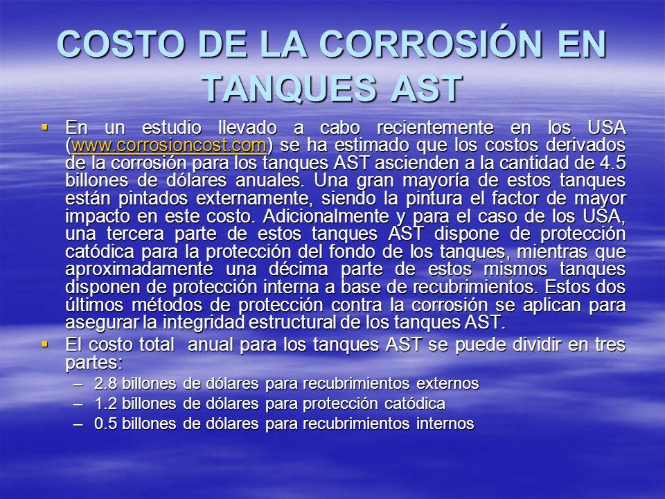 COSTO DE LA CORROSIÓN EN TANQUES AST En un estudio llevado a cabo recientemente en los USA (www.corrosioncost.com) se ha estimado que los costos deriv