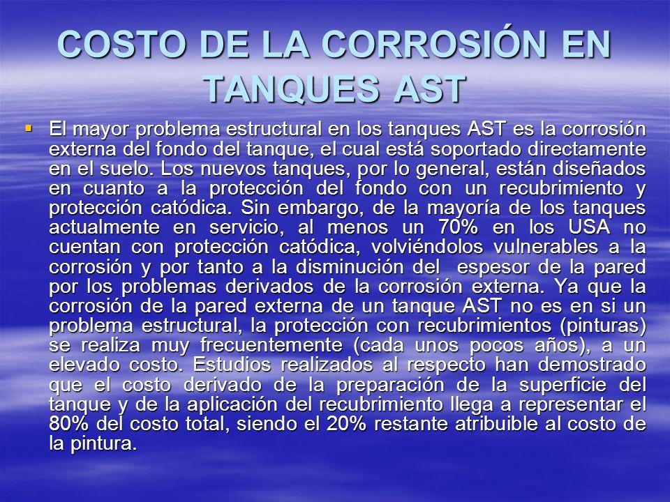COSTO DE LA CORROSIÓN EN TANQUES AST El mayor problema estructural en los tanques AST es la corrosión externa del fondo del tanque, el cual está sopor