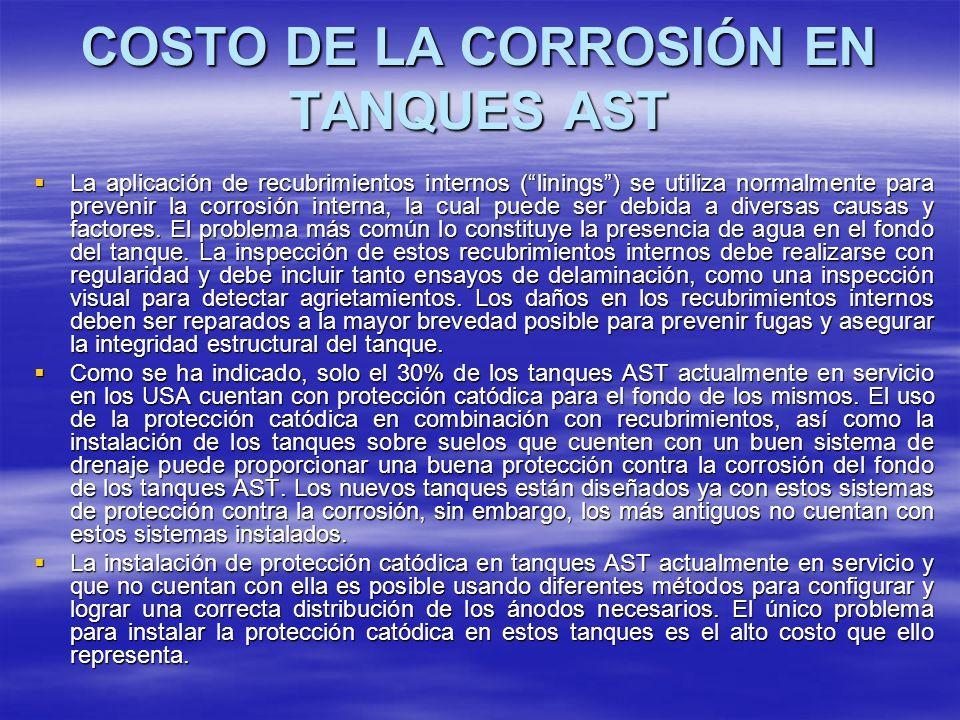 COSTO DE LA CORROSIÓN EN TANQUES AST La aplicación de recubrimientos internos (linings) se utiliza normalmente para prevenir la corrosión interna, la