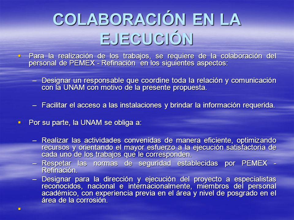 COLABORACIÓN EN LA EJECUCIÓN Para la realización de los trabajos, se requiere de la colaboración del personal de PEMEX - Refinación en los siguientes