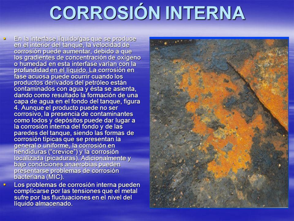 CORROSIÓN INTERNA En la interfase líquido/gas que se produce en el interior del tanque, la velocidad de corrosión puede aumentar, debido a que los gra