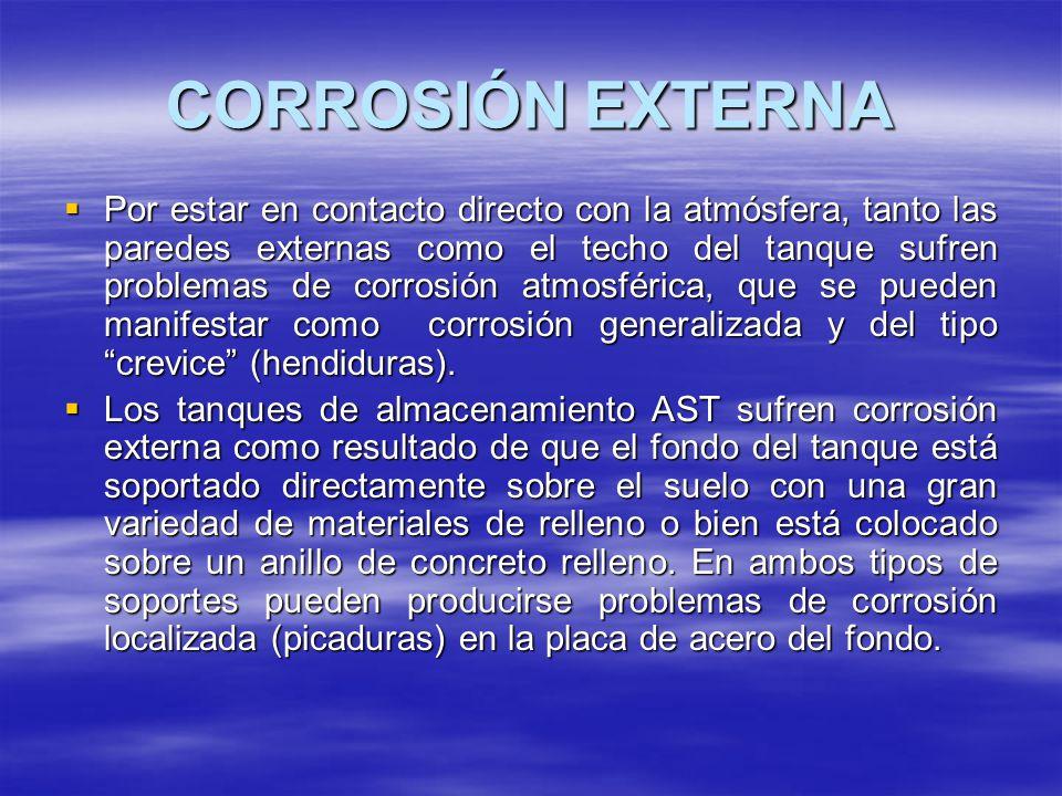 CORROSIÓN EXTERNA Por estar en contacto directo con la atmósfera, tanto las paredes externas como el techo del tanque sufren problemas de corrosión at