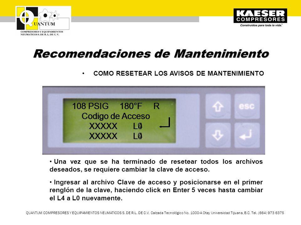 QUANTUM COMPRESORES Y EQUIPAMIENTOS NEUMATICOS S. DE R.L. DE C.V. Calzada Tecnológico No. 1000-A Otay Universidad Tijuana, B.C. Tel. (664) 973 6375 Re