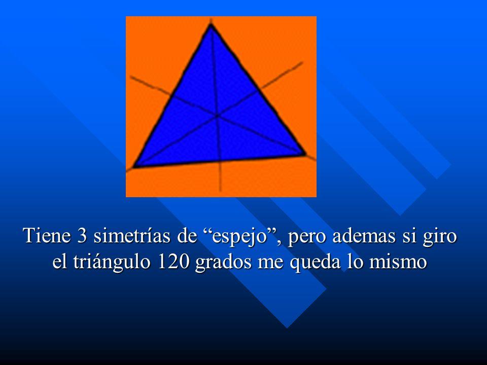 Tiene 3 simetrías de espejo, pero ademas si giro el triángulo 120 grados me queda lo mismo