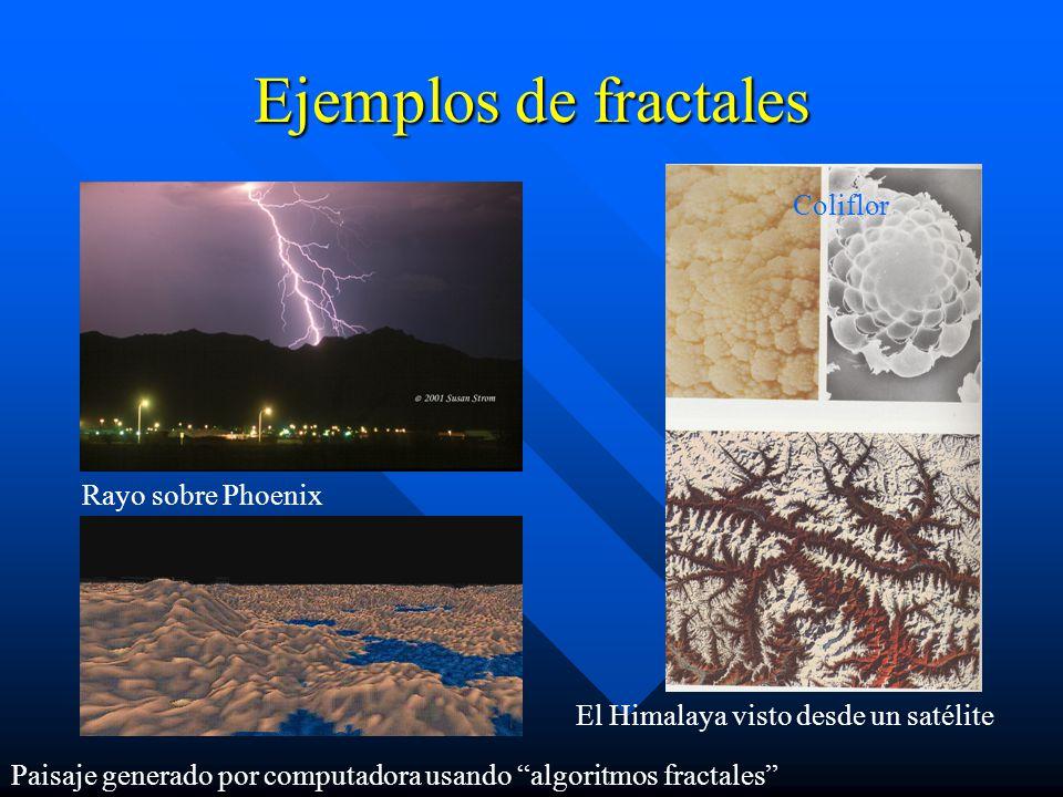 Ejemplos de fractales El Himalaya visto desde un satélite Coliflor Paisaje generado por computadora usando algoritmos fractales Rayo sobre Phoenix