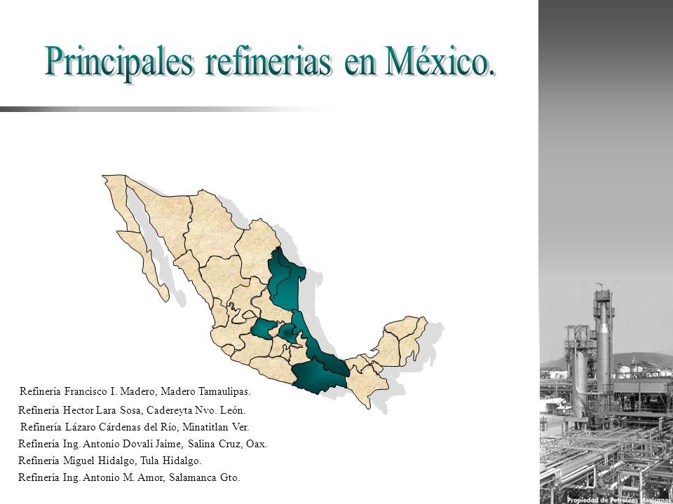 Refinería Hector Lara Sosa, Cadereyta Nvo. León. Refinería Miguel Hidalgo, Tula Hidalgo. Refinería Francisco I. Madero, Madero Tamaulipas. Refinería I