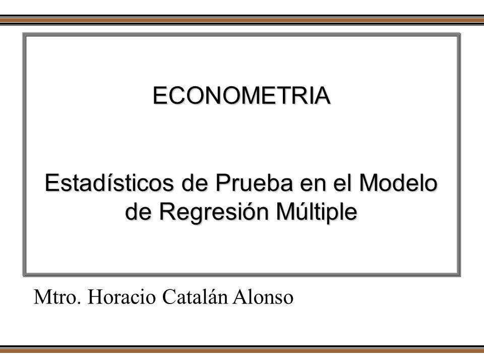ECONOMETRIA Estadísticos de Prueba en el Modelo de Regresión Múltiple Mtro. Horacio Catalán Alonso