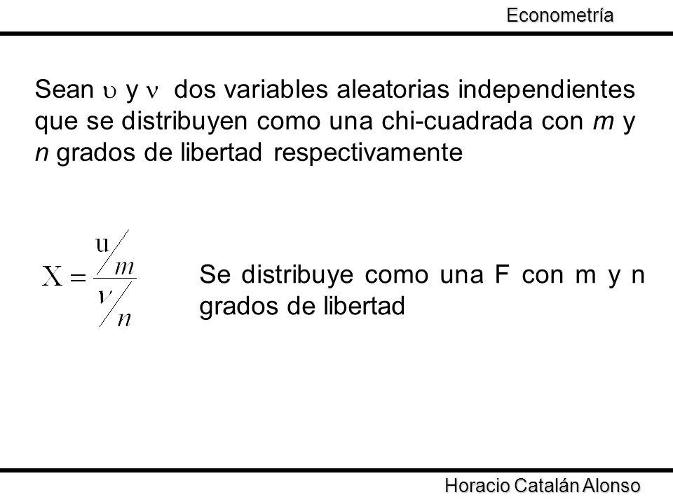 Taller de Econometría Horacio Catalán Alonso Econometría Sean y dos variables aleatorias independientes que se distribuyen como una chi-cuadrada con m