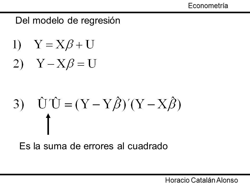 Taller de Econometría Horacio Catalán Alonso Econometría Del modelo de regresión Es la suma de errores al cuadrado