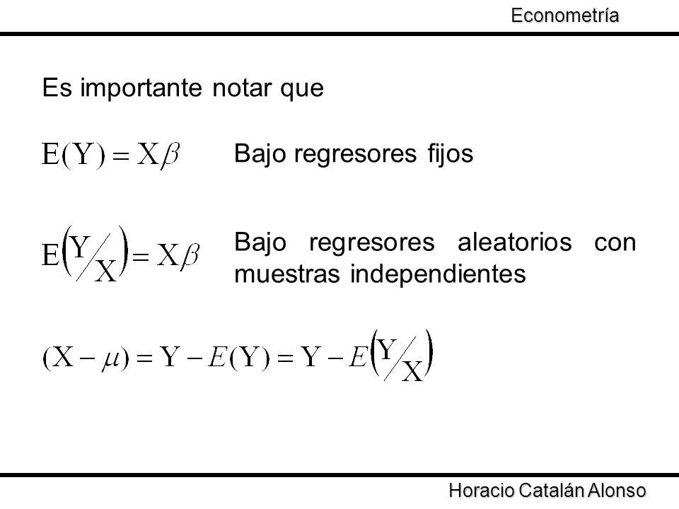 Taller de Econometría Horacio Catalán Alonso Econometría Es importante notar que Bajo regresores fijos Bajo regresores aleatorios con muestras indepen