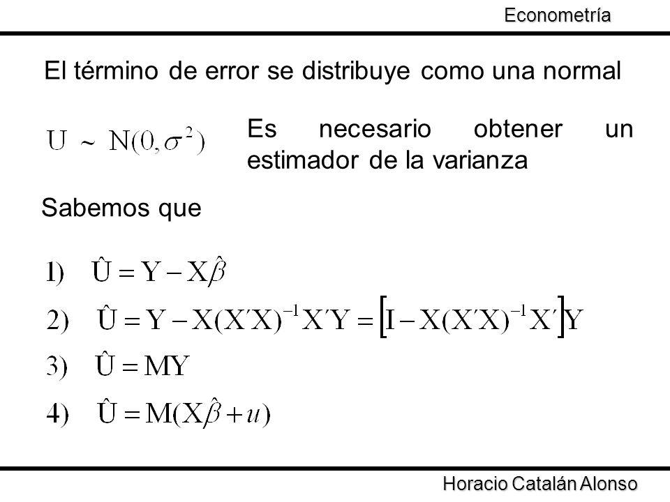 Taller de Econometría Horacio Catalán Alonso Econometría El término de error se distribuye como una normal Es necesario obtener un estimador de la var