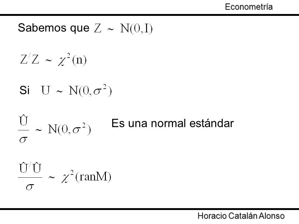 Taller de Econometría Horacio Catalán Alonso Econometría Sabemos que Si Es una normal estándar