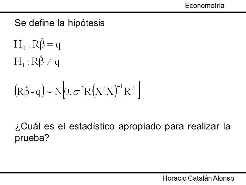 Taller de Econometría Horacio Catalán Alonso Econometría Se define la hipótesis ¿Cuál es el estadístico apropiado para realizar la prueba?