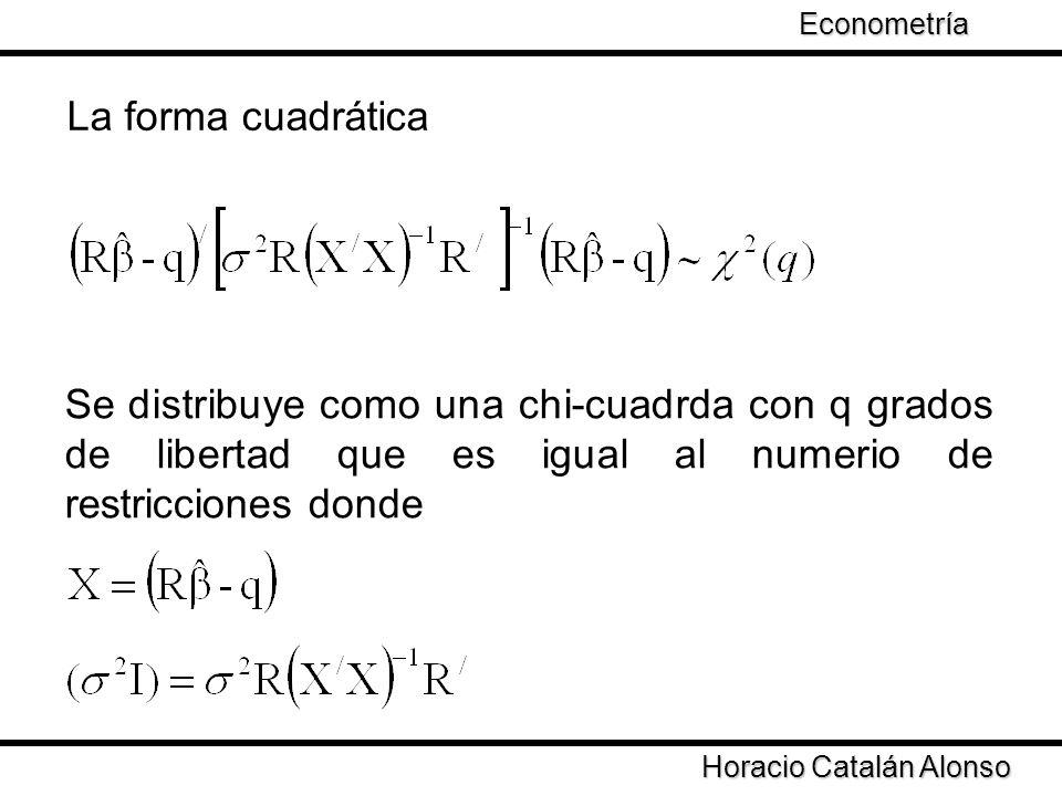 Taller de Econometría Horacio Catalán Alonso Econometría Se distribuye como una chi-cuadrda con q grados de libertad que es igual al numerio de restri