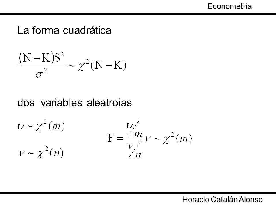 Taller de Econometría Horacio Catalán Alonso Econometría dos variables aleatroias La forma cuadrática