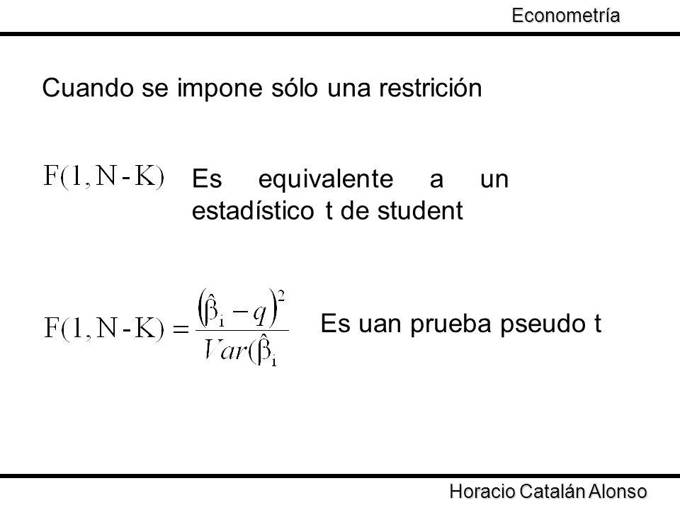 Taller de Econometría Horacio Catalán Alonso Econometría Cuando se impone sólo una restrición Es equivalente a un estadístico t de student Es uan prue