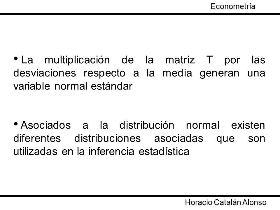 Taller de Econometría Horacio Catalán Alonso Econometría La multiplicación de la matriz T por las desviaciones respecto a la media generan una variabl