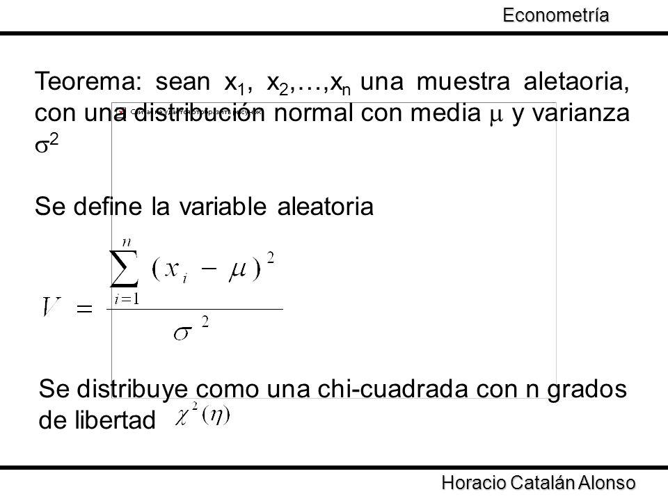 Taller de Econometría Horacio Catalán Alonso Econometría Teorema: sean x 1, x 2,…,x n una muestra aletaoria, con una distribución normal con media y v