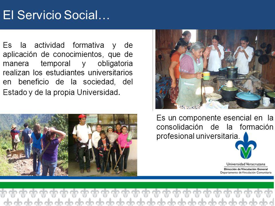 El Servicio Social… Es la actividad formativa y de aplicación de conocimientos, que de manera temporal y obligatoria realizan los estudiantes universitarios en beneficio de la sociedad, del Estado y de la propia Universidad.