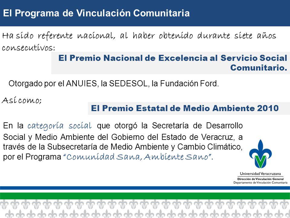 El Programa de Vinculación Comunitaria El Premio Nacional de Excelencia al Servicio Social Comunitario.