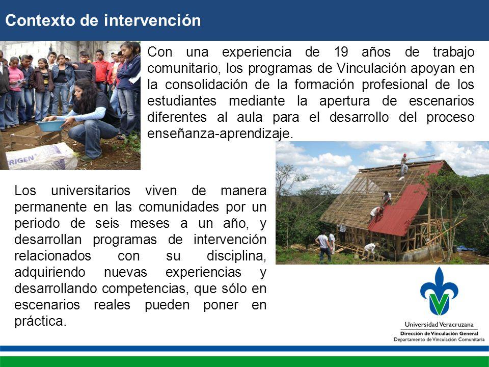 Contexto de intervención Con una experiencia de 19 años de trabajo comunitario, los programas de Vinculación apoyan en la consolidación de la formación profesional de los estudiantes mediante la apertura de escenarios diferentes al aula para el desarrollo del proceso enseñanza-aprendizaje.