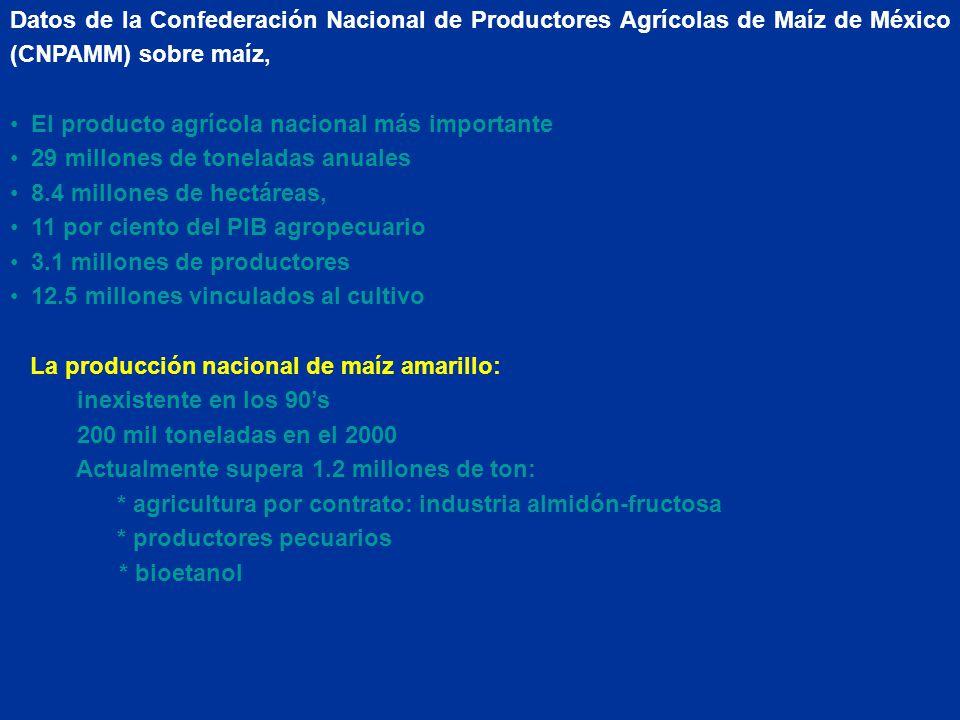 Datos de la Confederación Nacional de Productores Agrícolas de Maíz de México (CNPAMM) sobre maíz, El producto agrícola nacional más importante 29 millones de toneladas anuales 8.4 millones de hectáreas, 11 por ciento del PIB agropecuario 3.1 millones de productores 12.5 millones vinculados al cultivo La producción nacional de maíz amarillo: inexistente en los 90s 200 mil toneladas en el 2000 Actualmente supera 1.2 millones de ton: * agricultura por contrato: industria almidón-fructosa * productores pecuarios * bioetanol