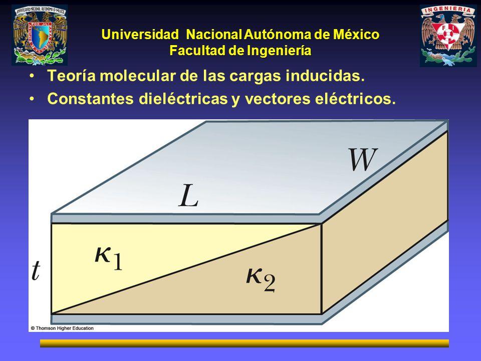 Universidad Nacional Autónoma de México Facultad de Ingeniería Teoría molecular de las cargas inducidas. Constantes dieléctricas y vectores eléctricos