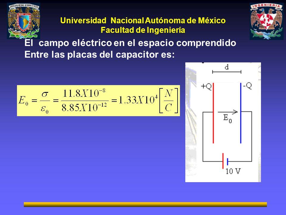 Universidad Nacional Autónoma de México Facultad de Ingeniería El campo eléctrico en el espacio comprendido Entre las placas del capacitor es: