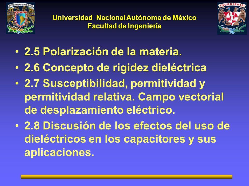 Universidad Nacional Autónoma de México Facultad de Ingeniería 2.5 Polarización de la materia. 2.6 Concepto de rigidez dieléctrica 2.7 Susceptibilidad