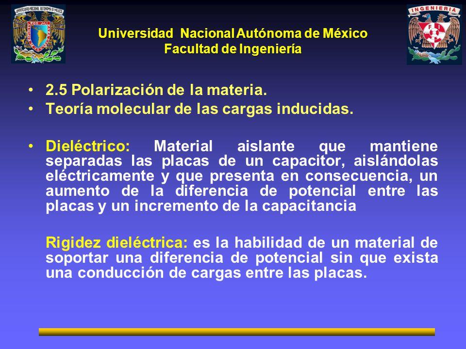 Universidad Nacional Autónoma de México Facultad de Ingeniería 2.5 Polarización de la materia. Teoría molecular de las cargas inducidas. Dieléctrico: