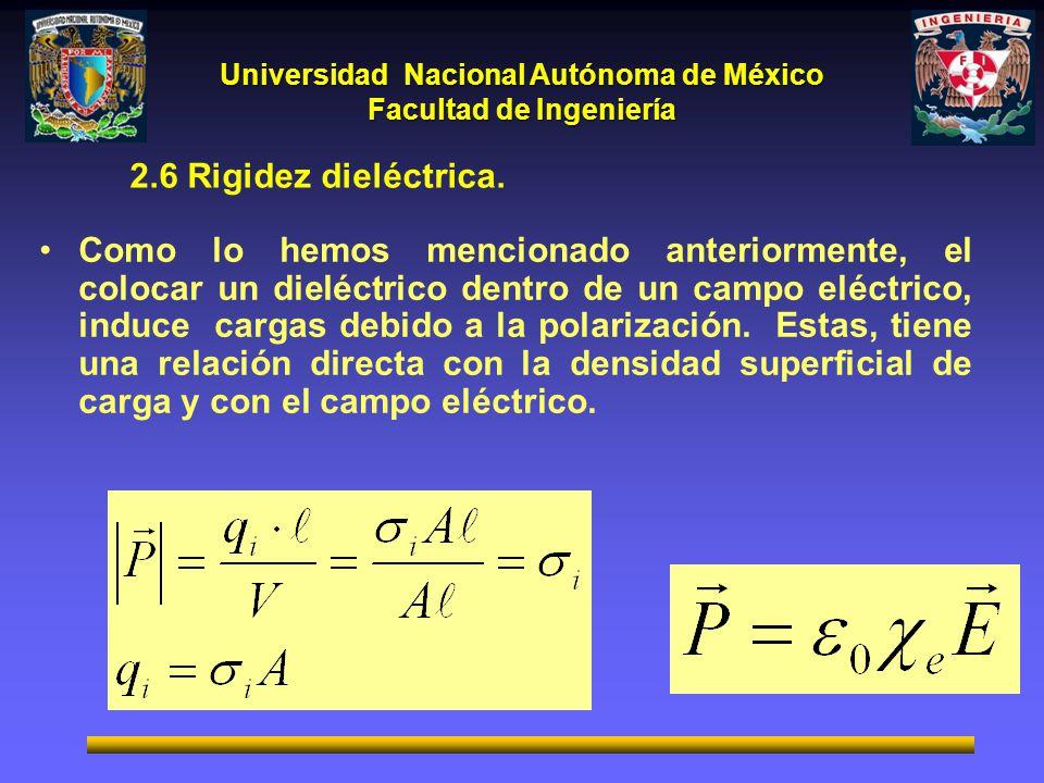 Universidad Nacional Autónoma de México Facultad de Ingeniería 2.6 Rigidez dieléctrica. Como lo hemos mencionado anteriormente, el colocar un dieléctr