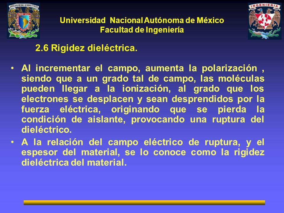 Universidad Nacional Autónoma de México Facultad de Ingeniería 2.6 Rigidez dieléctrica. Al incrementar el campo, aumenta la polarización, siendo que a
