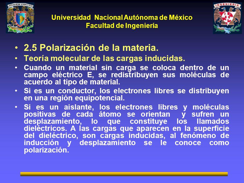 Universidad Nacional Autónoma de México Facultad de Ingeniería El campo vectorial de la polarización eléctrica P, se representa mediante líneas que empiezan en las cargas inducidas negativas y terminan en las cargas inducidas positivas del dieléctrico, ya que el vector polarización esta en función de las cargas inducidas.