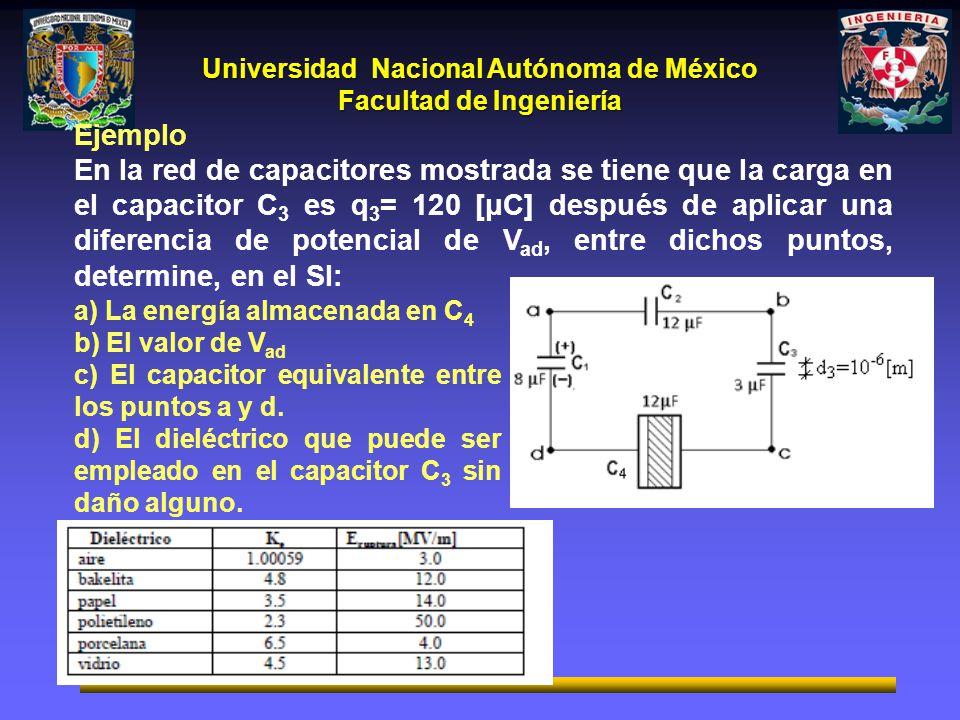 Universidad Nacional Autónoma de México Facultad de Ingeniería Ejemplo En la red de capacitores mostrada se tiene que la carga en el capacitor C 3 es q 3 = 120 [μC] después de aplicar una diferencia de potencial de V ad, entre dichos puntos, determine, en el SI: a) La energía almacenada en C 4 b) El valor de V ad c) El capacitor equivalente entre los puntos a y d.