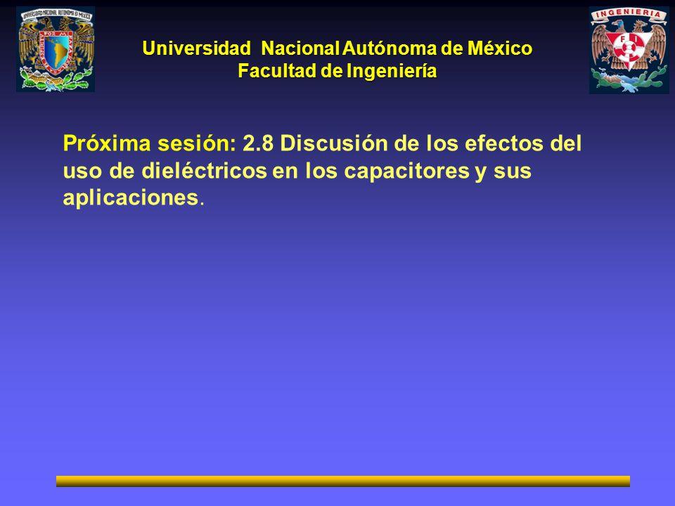 Universidad Nacional Autónoma de México Facultad de Ingeniería Próxima sesión: 2.8 Discusión de los efectos del uso de dieléctricos en los capacitores