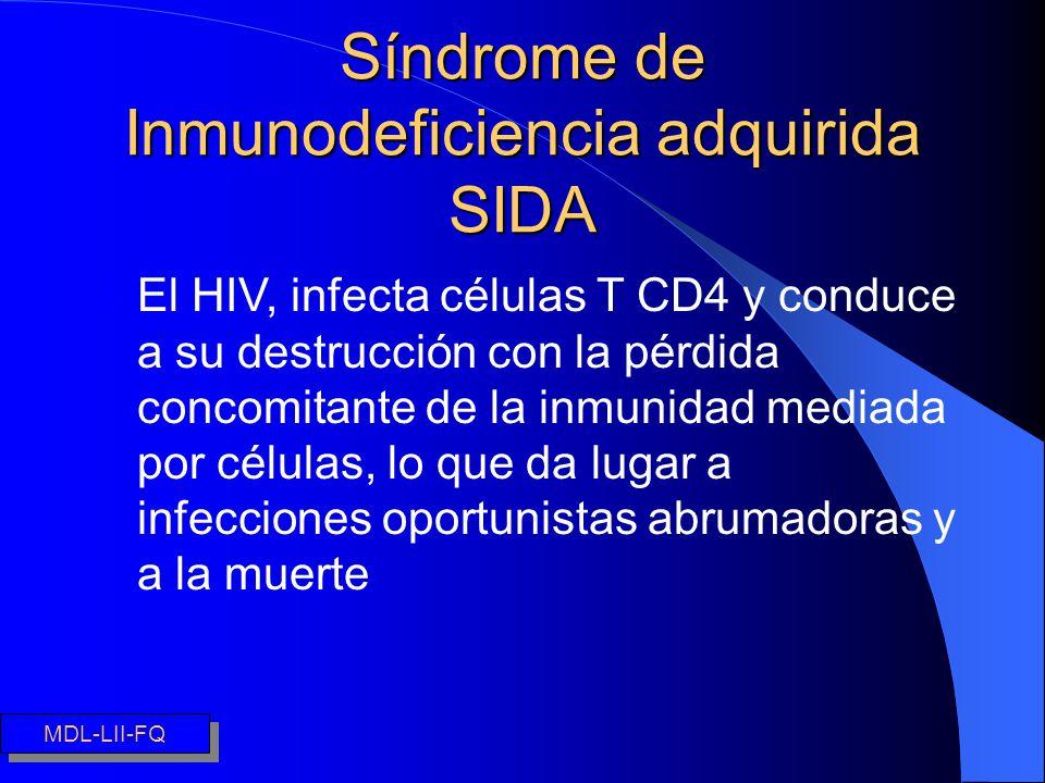 Síndrome de Inmunodeficiencia adquirida SIDA λEl HIV, infecta células T CD4 y conduce a su destrucción con la pérdida concomitante de la inmunidad med