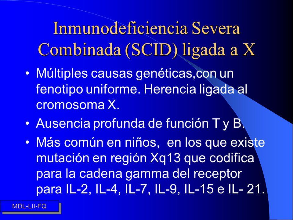 Inmunodeficiencia Severa Combinada (SCID) ligada a X Múltiples causas genéticas,con un fenotipo uniforme. Herencia ligada al cromosoma X. Ausencia pro