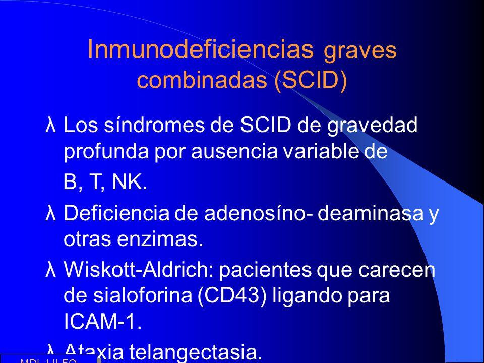 Inmunodeficiencias graves combinadas (SCID) λLos síndromes de SCID de gravedad profunda por ausencia variable de B, T, NK. λDeficiencia de adenosíno-