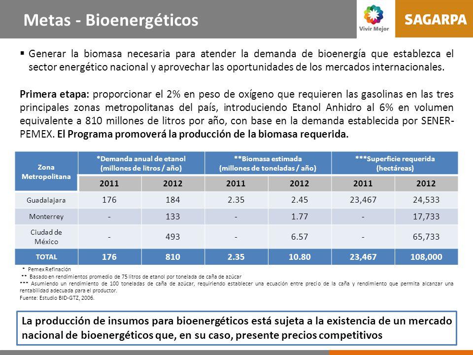 Generar la biomasa necesaria para atender la demanda de bioenergía que establezca el sector energético nacional y aprovechar las oportunidades de los mercados internacionales.