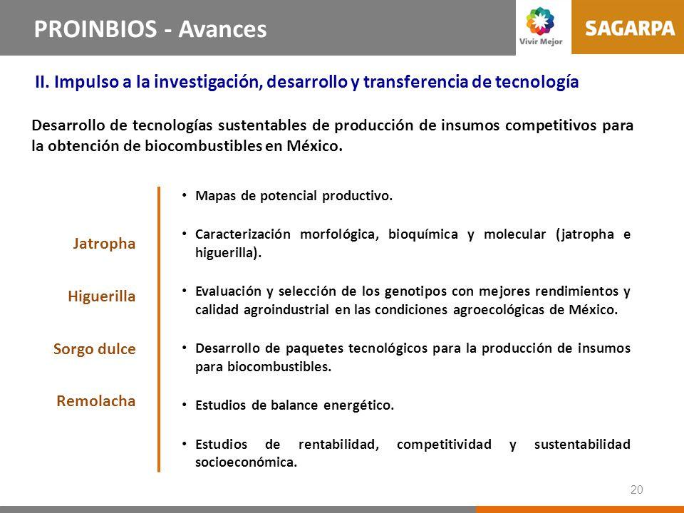 20 Líneas Estrategias del PROINBIOS PROINBIOS - Avances II. Impulso a la investigación, desarrollo y transferencia de tecnología Desarrollo de tecnolo