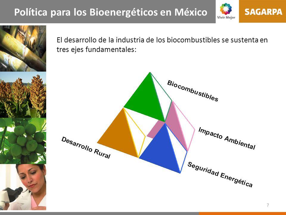 El desarrollo de la industria de los biocombustibles se sustenta en tres ejes fundamentales: 7 Política para los Bioenergéticos en México