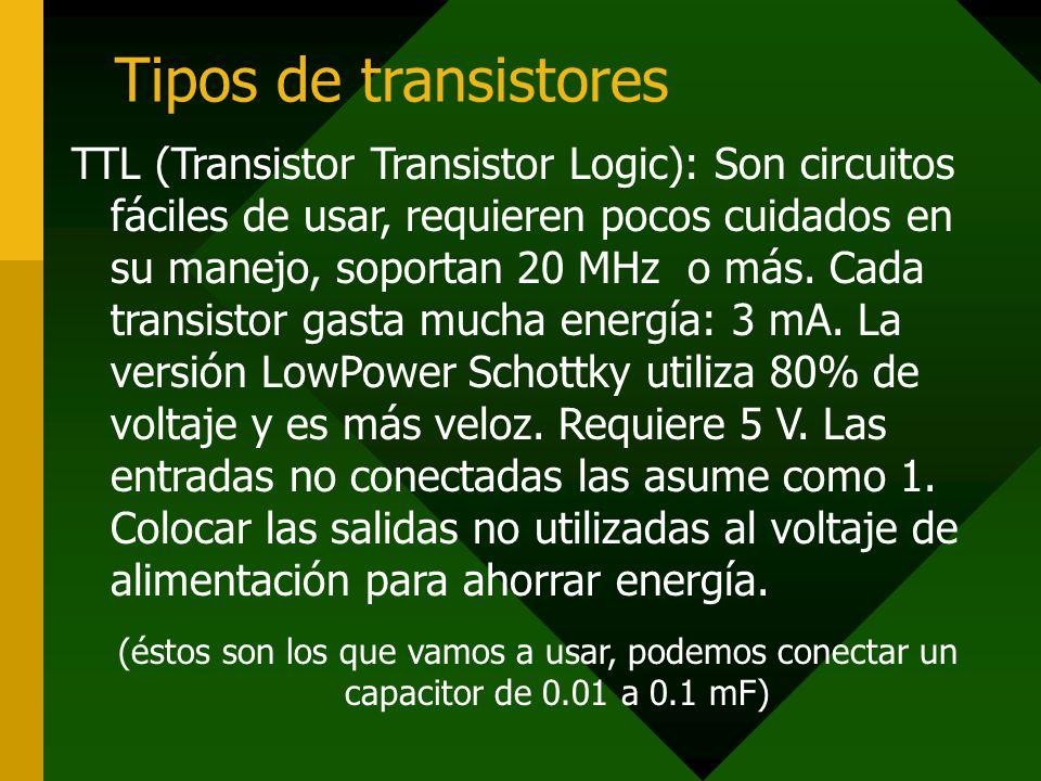 Tipos de transistores TTL (Transistor Transistor Logic): Son circuitos fáciles de usar, requieren pocos cuidados en su manejo, soportan 20 MHz o más.