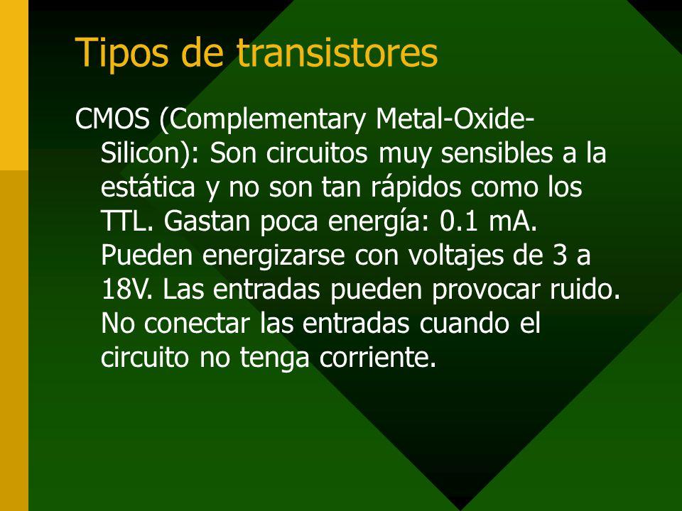 Tipos de transistores CMOS (Complementary Metal-Oxide- Silicon): Son circuitos muy sensibles a la estática y no son tan rápidos como los TTL. Gastan p