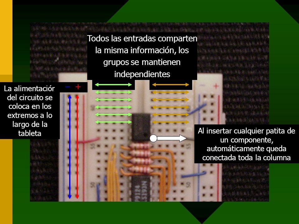 Al insertar cualquier patita de un componente, automáticamente queda conectada toda la columna La alimentación del circuito se coloca en los extremos