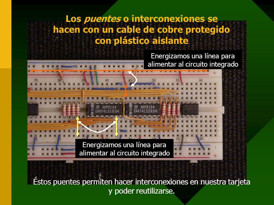 Los puentes o interconexiones se hacen con un cable de cobre protegido con plástico aislante Energizamos una línea para alimentar al circuito integrad